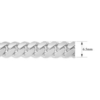 14 Karat White Gold 6.50mm 8.50 Inch Light Miami Cuban Chain Bracelet