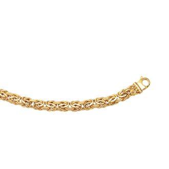 14 Karat Yellow Gold 9.0mm 8 Inch Shiny Byzantine Bracelet