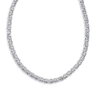 14 Karat White Gold 7.20mm 18 Inch Shiny Byzantine Necklace