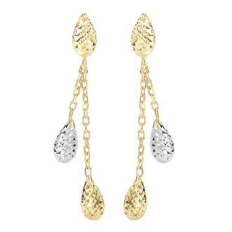 14 Karat Yellow & White Gold 1.25 inch Teardrop & Chain Dangle Earrings