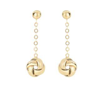 14 Karat Yellow Gold 1 inch Shiny Hanging Loveknot Drop Earrings