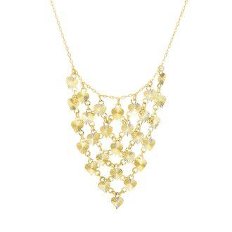 14 Karat Yellow Gold 0.88mm 17 Inch Diamond-Cut Hearts Triangle Bib Necklace