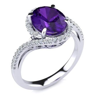 2 1/2 Carat Oval Shape Amethyst and Halo Diamond Ring In 14 Karat White Gold