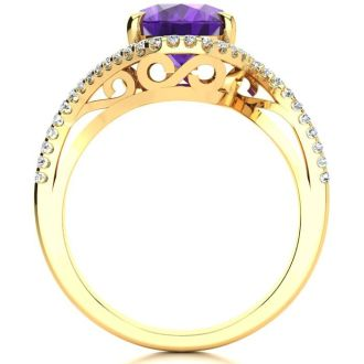 2 1/2 Carat Oval Shape Amethyst and Halo Diamond Ring In 14 Karat Yellow Gold
