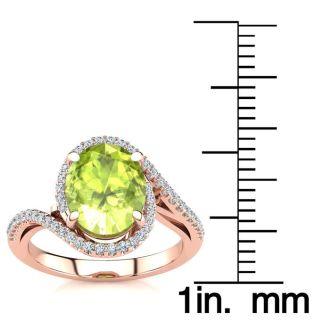 2 3/4 Carat Oval Shape Peridot and Halo Diamond Ring In 14 Karat Rose Gold