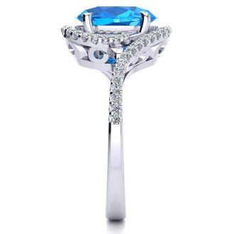 3 1/2 Carat Oval Shape Blue Topaz and Halo Diamond Ring In 14 Karat White Gold