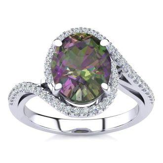 2 1/2 Carat Oval Shape Mystic Topaz and Halo Diamond Ring In 14 Karat White Gold