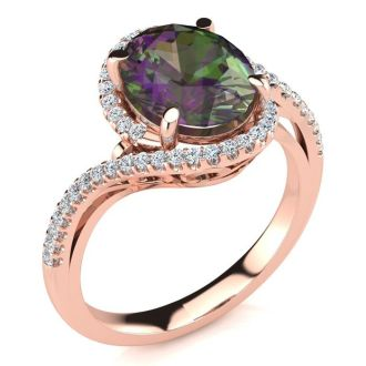 2 1/2 Carat Oval Shape Mystic Topaz and Halo Diamond Ring In 14 Karat Rose Gold