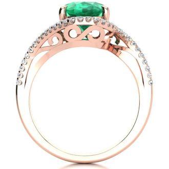 2 1/2 Carat Oval Shape Emerald and Halo Diamond Ring In 14 Karat Rose Gold