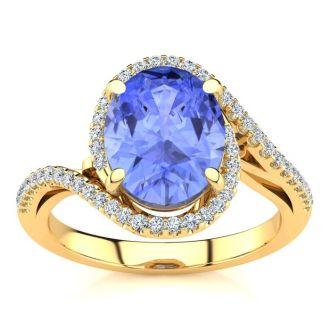 2 3/4 Carat Oval Shape Tanzanite and Halo Diamond Ring In 14 Karat Yellow Gold
