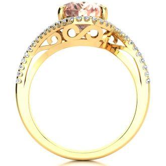2 1/2 Carat Oval Shape Morganite and Halo Diamond Ring In 14 Karat Yellow Gold