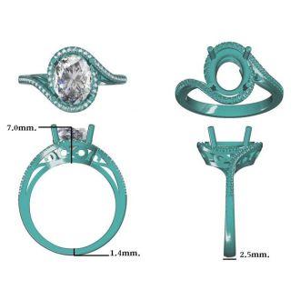3 1/3 Carat Oval Shape Sapphire and Halo Diamond Ring In 14 Karat Rose Gold