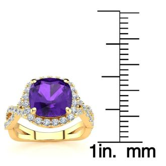 2 1/2 Carat Cushion Cut Amethyst and Halo Diamond Ring With Fancy Band In 14 Karat Yellow Gold