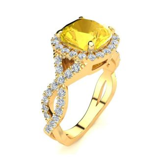 2 1/2 Carat Cushion Cut Citrine and Halo Diamond Ring With Fancy Band In 14 Karat Yellow Gold