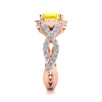 2 1/2 Carat Cushion Cut Citrine and Halo Diamond Ring With Fancy Band In 14 Karat Rose Gold