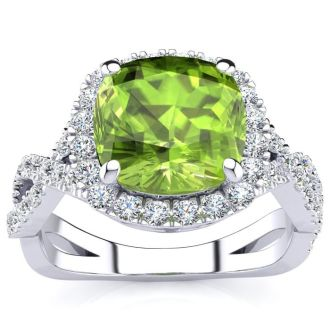 3 Carat Cushion Cut Peridot and Halo Diamond Ring With Fancy Band In 14 Karat White Gold