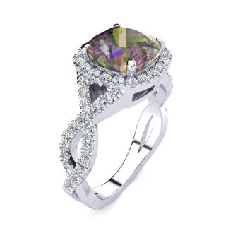 2 1/2 Carat Cushion Cut Mystic Topaz and Halo Diamond Ring With Fancy Band In 14 Karat White Gold