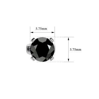 1 1/2ct Black Diamond Stud Earrings, 14k White Gold