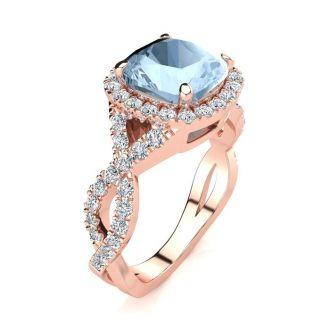 2 1/2 Carat Cushion Cut Aquamarine and Halo Diamond Ring With Fancy Band In 14 Karat Rose Gold