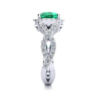 2 1/2 Carat Cushion Cut Emerald and Halo Diamond Ring With Fancy Band In 14 Karat White Gold