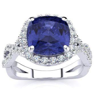 3 Carat Cushion Cut Tanzanite and Halo Diamond Ring With Fancy Band In 14 Karat White Gold
