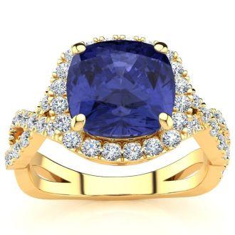 3 Carat Cushion Cut Tanzanite and Halo Diamond Ring With Fancy Band In 14 Karat Yellow Gold