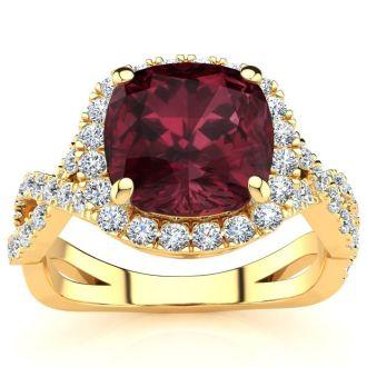 3 3/4 Carat Cushion Cut Garnet and Halo Diamond Ring With Fancy Band In 14 Karat Yellow Gold