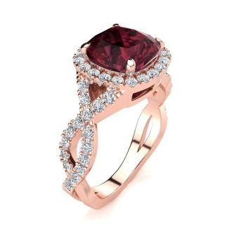3 3/4 Carat Cushion Cut Garnet and Halo Diamond Ring With Fancy Band In 14 Karat Rose Gold