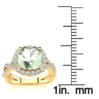 2 1/2 Carat Cushion Cut Green Amethyst and Halo Diamond Ring With Fancy Band In 14 Karat Yellow Gold