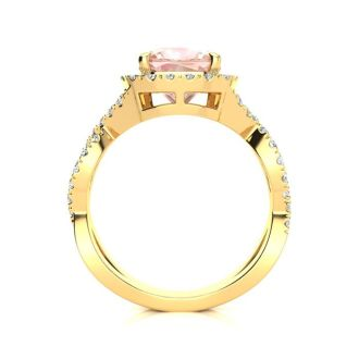 2 1/2 Carat Cushion Cut Morganite and Halo Diamond Ring With Fancy Band In 14 Karat Yellow Gold