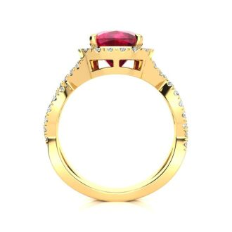 3 1/2 Carat Cushion Cut Ruby and Halo Diamond Ring With Fancy Band In 14 Karat Yellow Gold