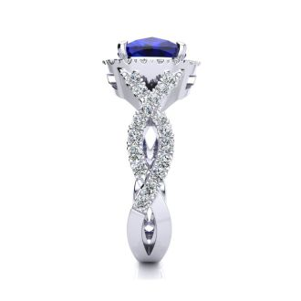 3 1/2 Carat Cushion Cut Sapphire and Halo Diamond Ring With Fancy Band In 14 Karat White Gold