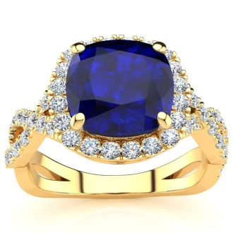 3 1/2 Carat Cushion Cut Sapphire and Halo Diamond Ring With Fancy Band In 14 Karat Yellow Gold