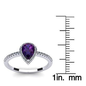 3/4 Carat Pear Shape Amethyst and Halo Diamond Ring In 14 Karat White Gold