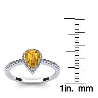 3/4 Carat Pear Shape Citrine and Halo Diamond Ring In 14 Karat White Gold