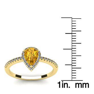 3/4 Carat Pear Shape Citrine and Halo Diamond Ring In 14 Karat Yellow Gold