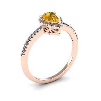 3/4 Carat Pear Shape Citrine and Halo Diamond Ring In 14 Karat Rose Gold