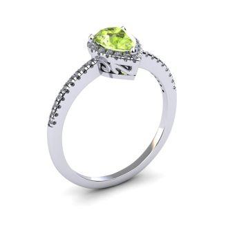 1 Carat Pear Shape Peridot and Halo Diamond Ring In 14 Karat White Gold
