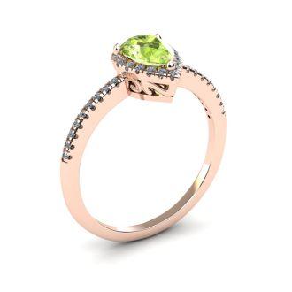 1 Carat Pear Shape Peridot and Halo Diamond Ring In 14 Karat Rose Gold