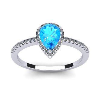 1 Carat Pear Shape Blue Topaz and Halo Diamond Ring In 14 Karat White Gold