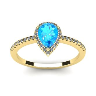 1 Carat Pear Shape Blue Topaz and Halo Diamond Ring In 14 Karat Yellow Gold