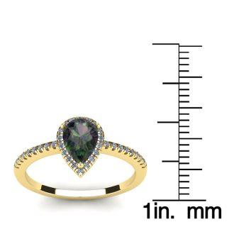 1 Carat Pear Shape Mystic Topaz and Halo Diamond Ring In 14 Karat Yellow Gold