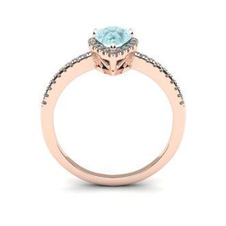 3/4 Carat Pear Shape Aquamarine and Halo Diamond Ring In 14 Karat Rose Gold