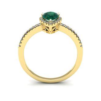 3/4 Carat Pear Shape Emerald and Halo Diamond Ring In 14 Karat Yellow Gold