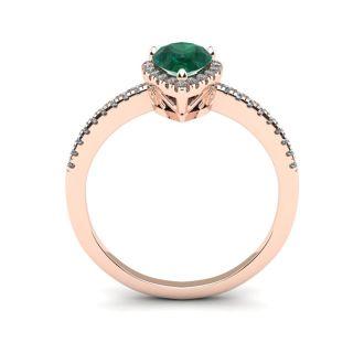 3/4 Carat Pear Shape Emerald and Halo Diamond Ring In 14 Karat Rose Gold