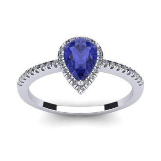 1 Carat Pear Shape Tanzanite and Halo Diamond Ring In 14 Karat White Gold