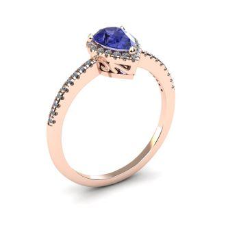 1 Carat Pear Shape Tanzanite and Halo Diamond Ring In 14 Karat Rose Gold