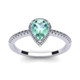 3/4 Carat Pear Shape Green Amethyst and Halo Diamond Ring In 14 Karat White Gold