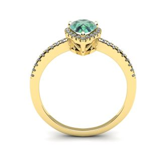 3/4 Carat Pear Shape Green Amethyst and Halo Diamond Ring In 14 Karat Yellow Gold