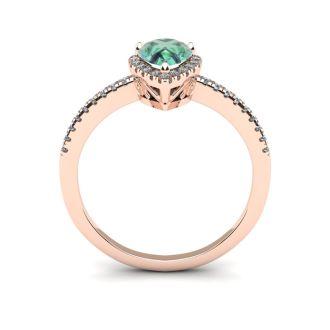 3/4 Carat Pear Shape Green Amethyst and Halo Diamond Ring In 14 Karat Rose Gold